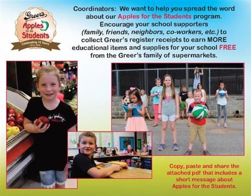 Greer's Apples for Students Flyer with information